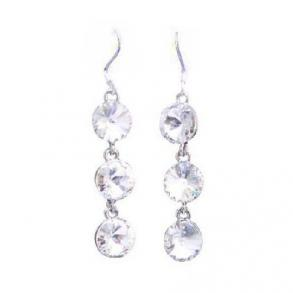 White Clear Crystals Dangle Earrings
