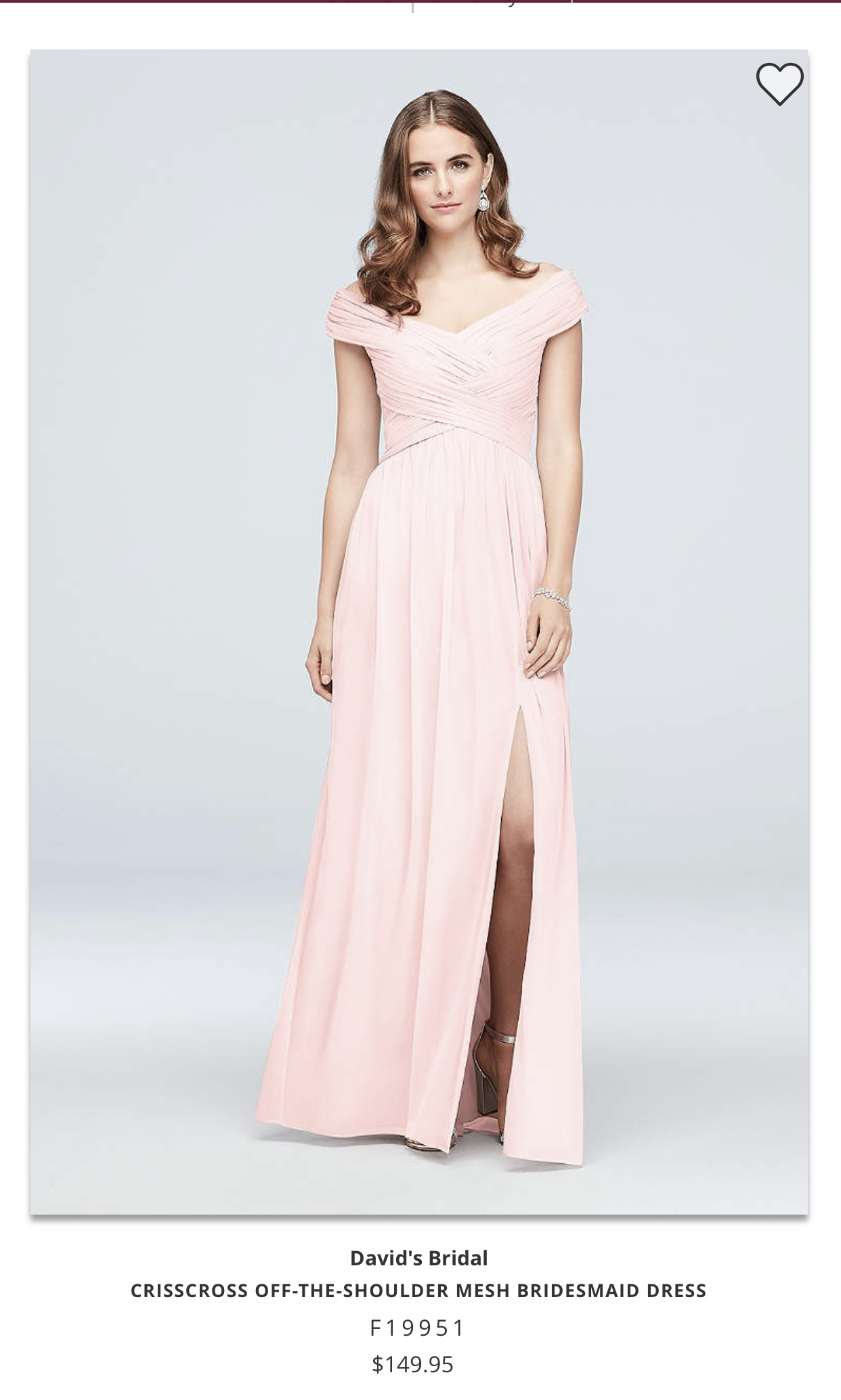 David's Bridal - Size 0 Bridesmaids Dress