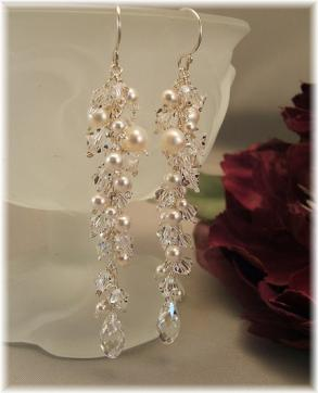 Wedding Day Earrings - Icicle Pearl Earrings - Sterling Silver, White Pearls And Clear Swarovski Austrian Crystal