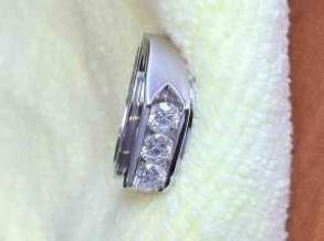 Men's 14k White Gold Band With Diamonds