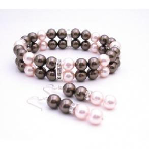 Brown Swarovski Pearls Bracelet & Earrings