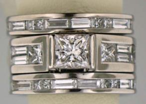 2.98 Total Ct Princess Cut 3 Band Wedding Set