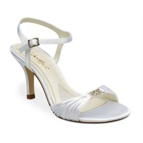 New White Satin Dyeable Chain Ornament High Heel Shoes