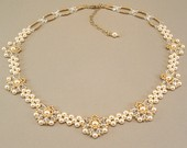 Regal Elegance Woven Bridal Necklace - Ivory Pearls And Clear Swarovski Austrian Crystal