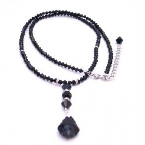 Back Drop Down Necklace Black Crystals
