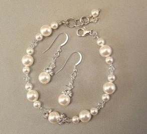White Pearl & Crystal Bracelet And Earring