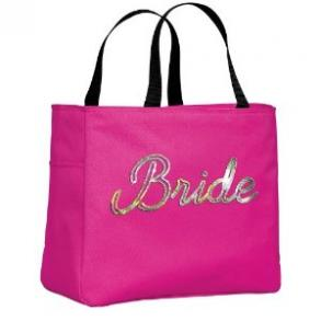 New Custom Made Bride Sequin Tote With Brides Name