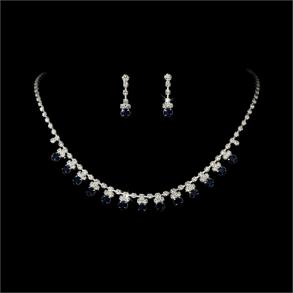 New Silver Navy Blue Rhinestone Accented Necklace Earring Set