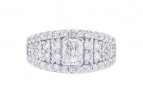 1.90ct Total Weight Radiant Cut Center Engagement Ring