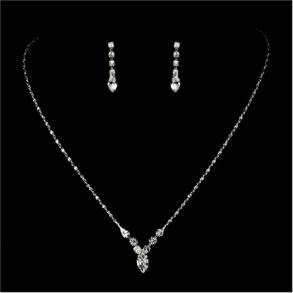 New Silver Clear Crystal Rhinestone Bridal Necklace Earring Set