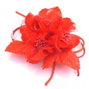 Red Fabric Flower Brooch Hair Pin Decorated W/ Pollen
