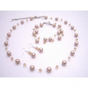 Platinium Champagne Pearls Crystals Necklace Earrings