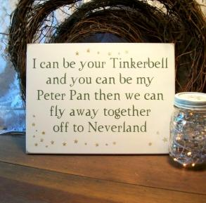 Peter Pan Tinkerbell Wedding Painted Wood Sign