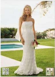 David's Bridal - Ivory Lace Wedding Gown