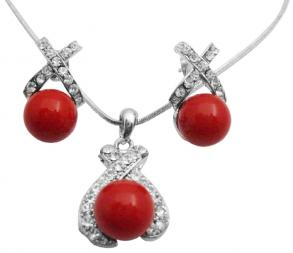 Red Shell Pearls Pendant Earrings