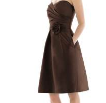 Alfred Sung Strapless Cocktail (d498) Brown, Size 0