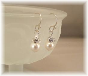 Petite Rhinestone Pearl Earrings