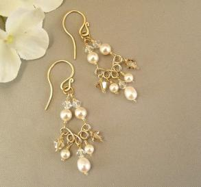 Wedding Jewelry - 14k Gold Filled Chandelier Earrings - Ivory Pearls And Swarovski Crystal, Choice Of 14k Gold Filled, Sterling Silver, White Or Ivory Pearls