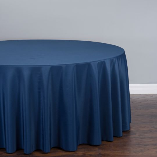 5 Count - 132 In. Round Polyester Tablecloth Navy Blue