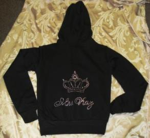 Personalized Rhinestone Bride Zip Hoodie with Crown - NEW
