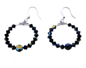 Jet Black Genuine Swarovski Ab Jet & Jet Crystals Hoop Earrings