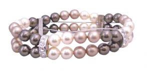 Double Stranded Ivory Brown & Champagne Pearls Stretchable Bracelet