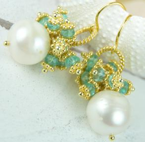 Bridal Pearl Earrings With Apatite