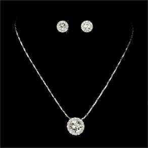 New Silver Clear Crystal Rhinestone Pendant Necklace Earring Set