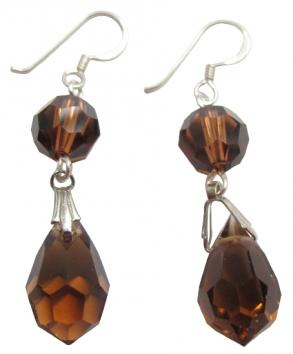 Topaz Crystals Ball & Teardrop Earrings