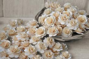 Wood Roses- Birch Wood Shavings- Rustic - Natural