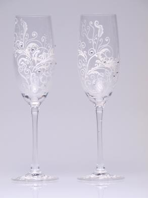 Hand Painted Wedding Toasting Flutes Set Of 2 Personalized Champagne Gles White Ornaments With Crystals