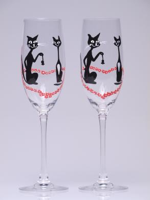 Hand Painted Wedding Toasting Flutes Set Of 2 Personalized Champagne Gles Black Cats