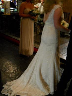 edd23eddbc David s Bridal - Allover Beaded Lace Trumpet Gown