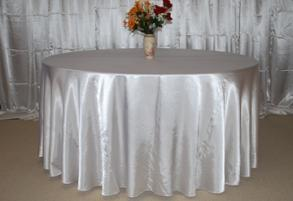 120 inch White Satin Round Table cloth