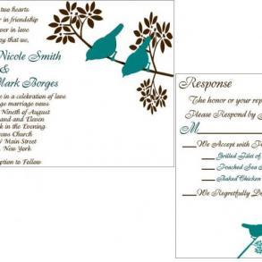 100 Custom Wedding Invitation Suite Modern Teal And Brown Bird