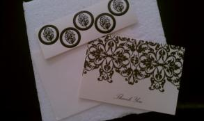 Damask Cream And Black Thank You Cards