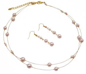 Gold Plated Ivory Pearls Necklace And Earring Sets For Bridemaids