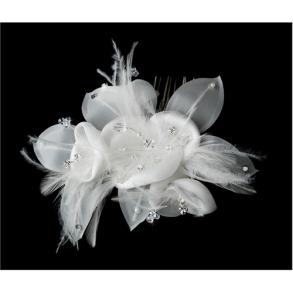 Feather Flower Bridal Hair Comb Adorn With Swarovski Ivory