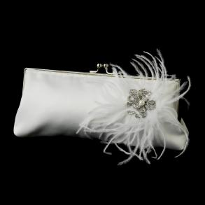 New Crystal & Pearl Brooch & Feather Accent Bridal Purse 7