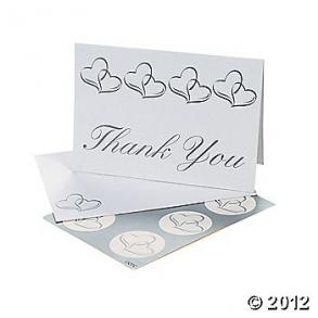 Thank You Cards Silver Hearts