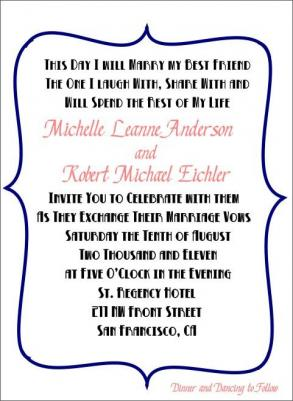100 Fun And Modern Blue And Pink Bracket Style Wedding Invitation Sets With Fun Mad Lib Style Rsvp