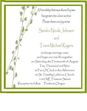 Spring Vine Graphic Pocketfold Wedding Invite Set
