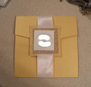 Custom Metallic Pocketfold Wedding Invitations With Ab Crystals, Triple Layers, Gold And Ivory - Beautiful Set