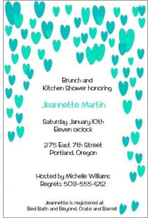 Cool Raining Hearts Bridal Shower Invite