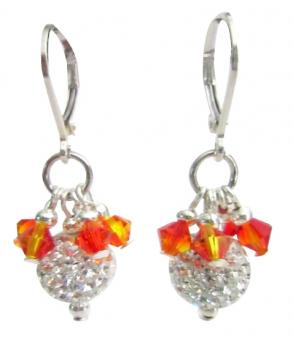 Fire Opal Crystals Silver Pave Ball Earrings