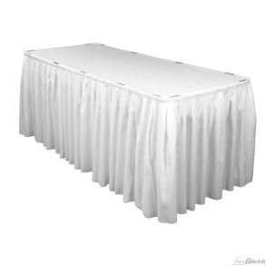 14ft. & 21ft. White Polyester Pleated Tableskirts For Sale!