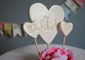 Personalized Heart Wedding Cake Topper With We Do Hearts