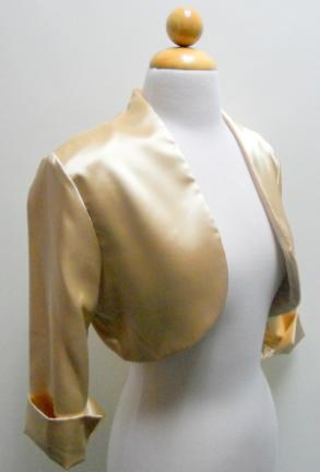 Gold Satin Bolero Jacket For Bridesmaid Dress