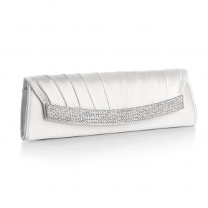 Satin Evening Clutch With Inlaid Crystals