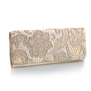 Satin Evening Bag With Bejeweled Bold Lace